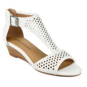 Aerosoles Sapphire White Wedge Open Toe Sandal